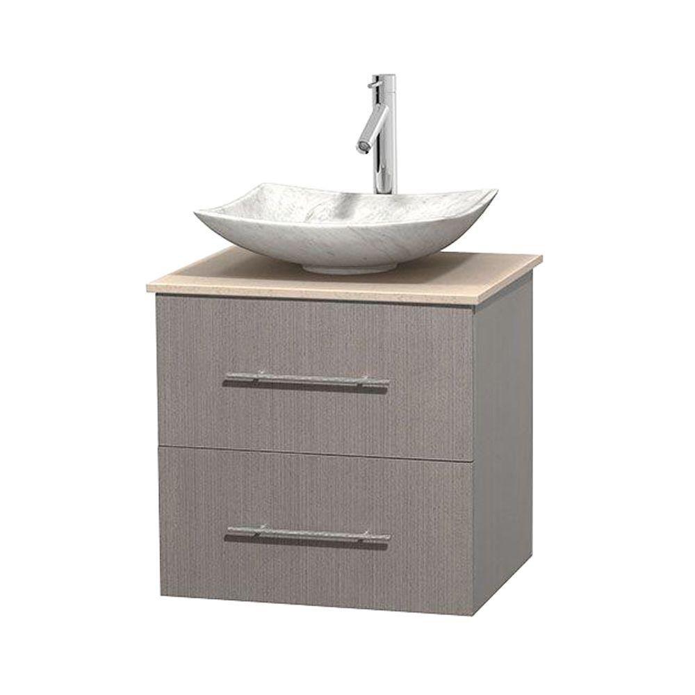 Wyndham collection meuble simple centra 24 po ch ne gris - Meuble patine blanc ivoire ...