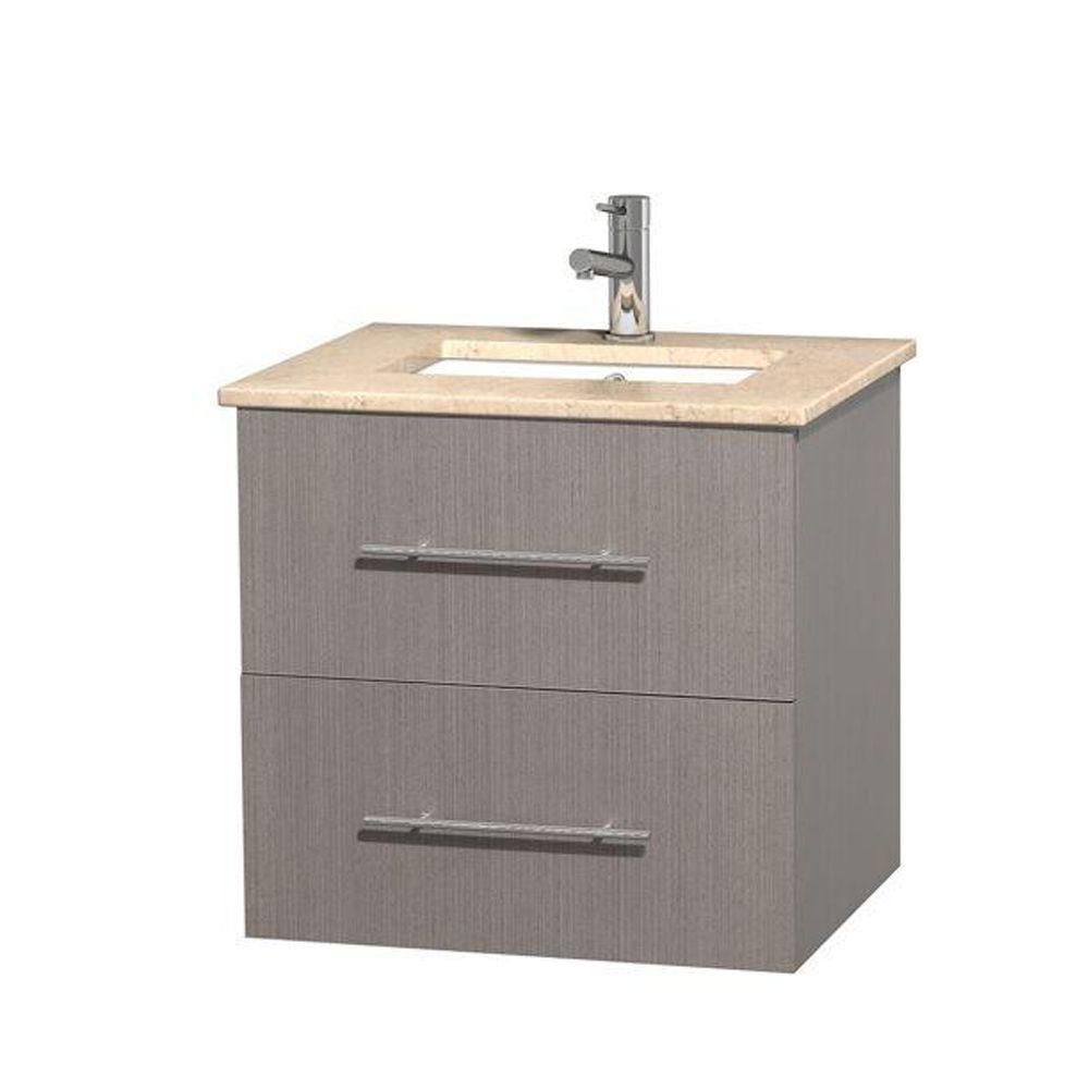 Centra 24-inch W Vanity in Grey Oak with Marble Top in Ivory with Square Basin