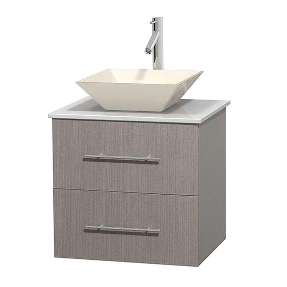 Meuble unique Centra 24 po. chêne gris, comptoir solide, lavabo porcelaine bone sans miroir