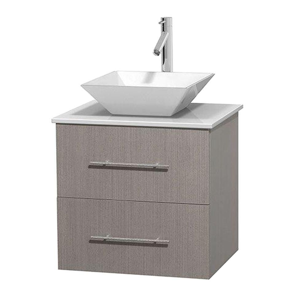 Centra 24-inch W Vanity in Grey Oak with Solid Top with White Basin