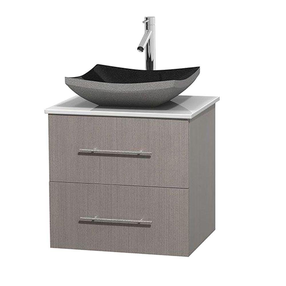 Meuble simple Centra 24 po. chêne gris, comptoir solide, lavabo granit noir, sans miroir
