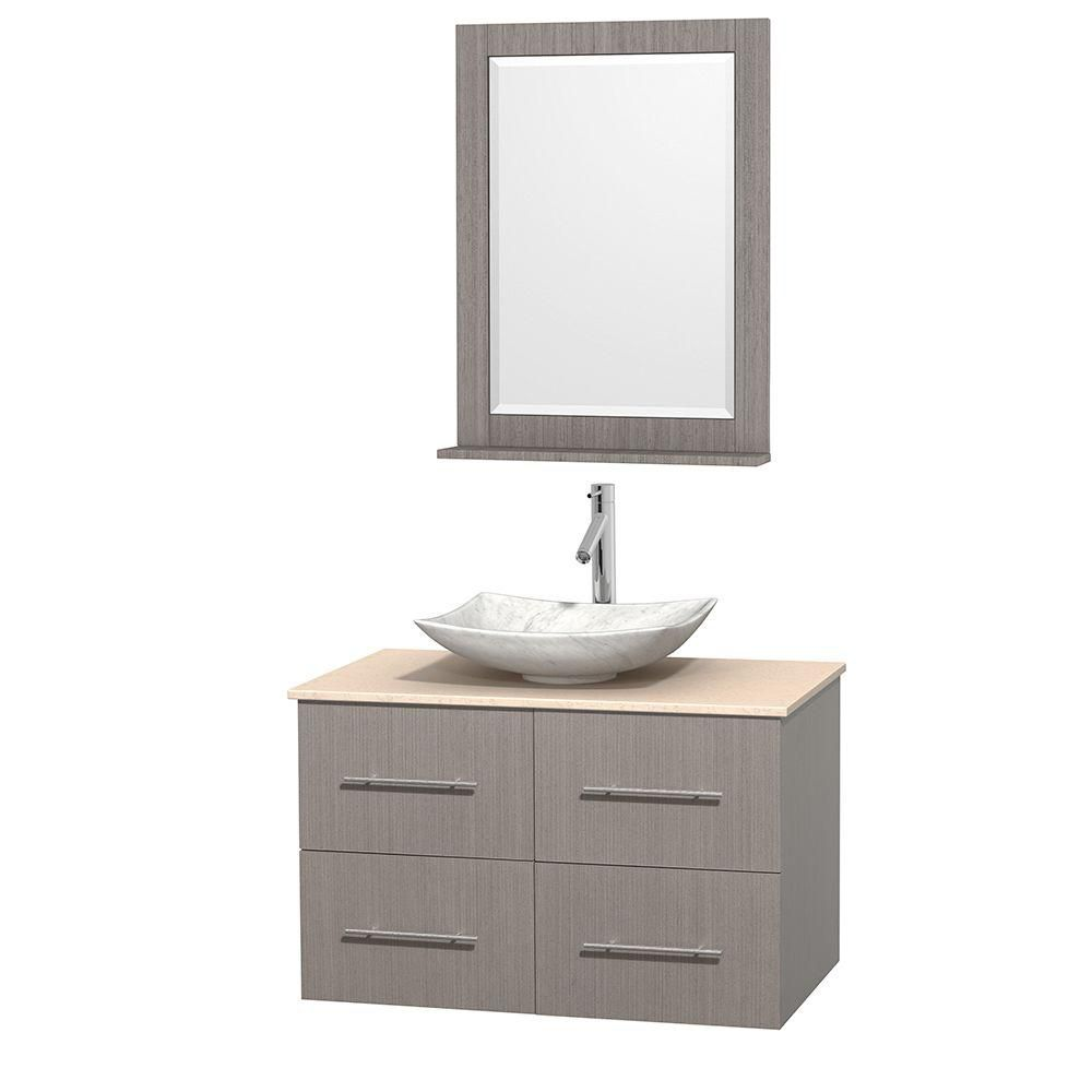 Centra 36-inch W Vanity in Grey Oak with Marble Top in Ivory with White Basin and Mirror