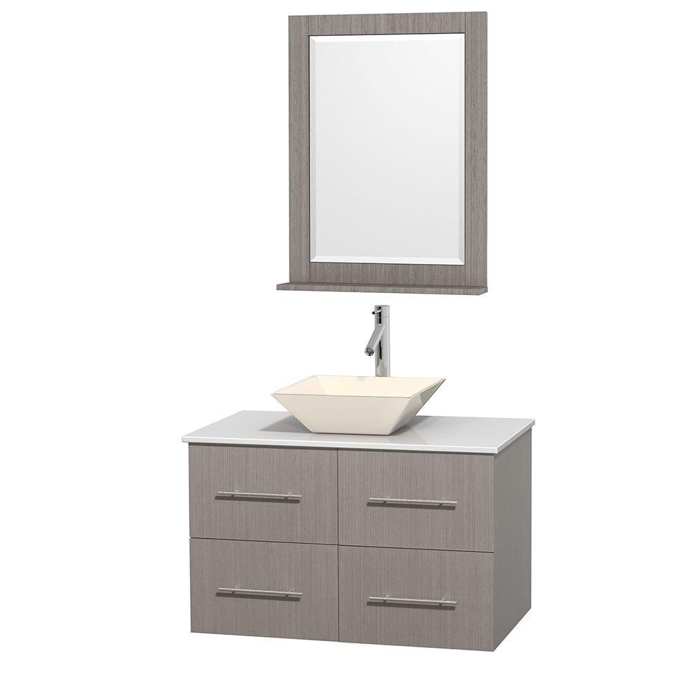 Centra 36-inch W Vanity in Grey Oak with Solid Top with Bone Basin and Mirror