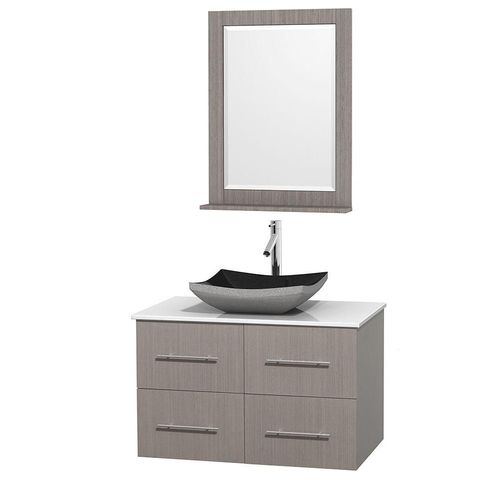 Centra 36-inch W Vanity in Grey Oak with Solid Top with Black Basin and Mirror