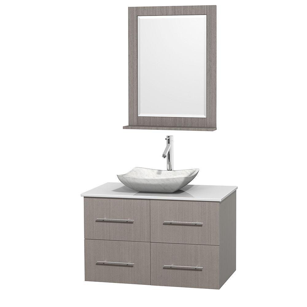 Meuble simple Centra 36 po. chêne gris, comptoir solide, lavabo blanc Carrare, miroir 24 po.