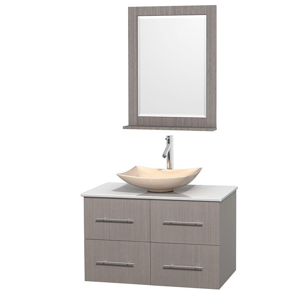 Meuble simple Centra 36 po. chêne gris, comptoir solide, lavabo ivoire, miroir 24 po.