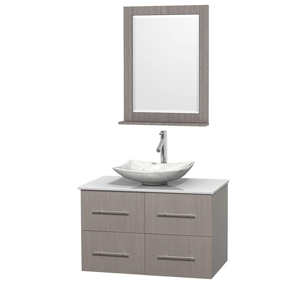 Centra 36-inch W Vanity in Grey Oak with Solid Top with White Basin and Mirror