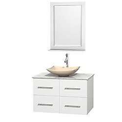 Wyndham Collection Centra 36-inch W 2-Drawer 2-Door Wall Mounted Vanity in White With Marble Top in White With Mirror
