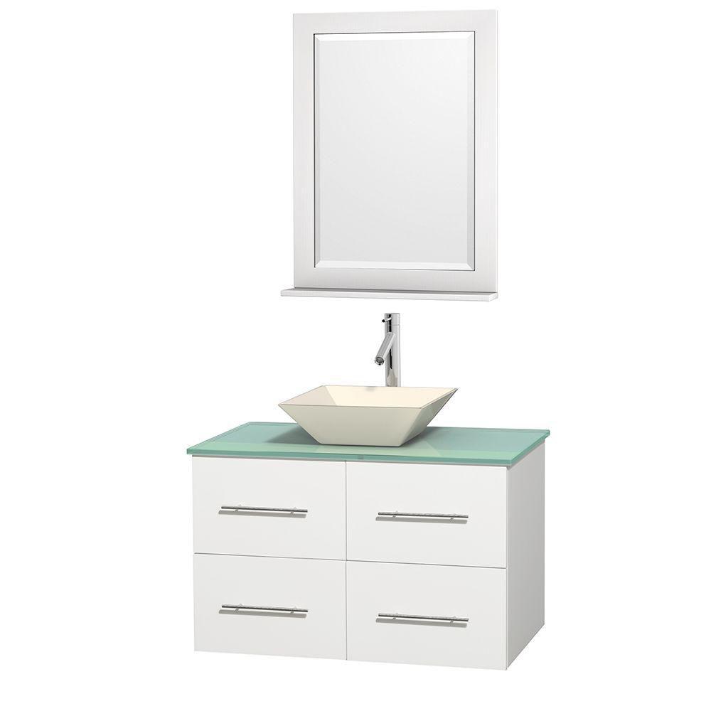 Meuble unique Centra 36 po. blanc, comptoir verre vert, lavabo porcelaine bone, miroir 24 po.