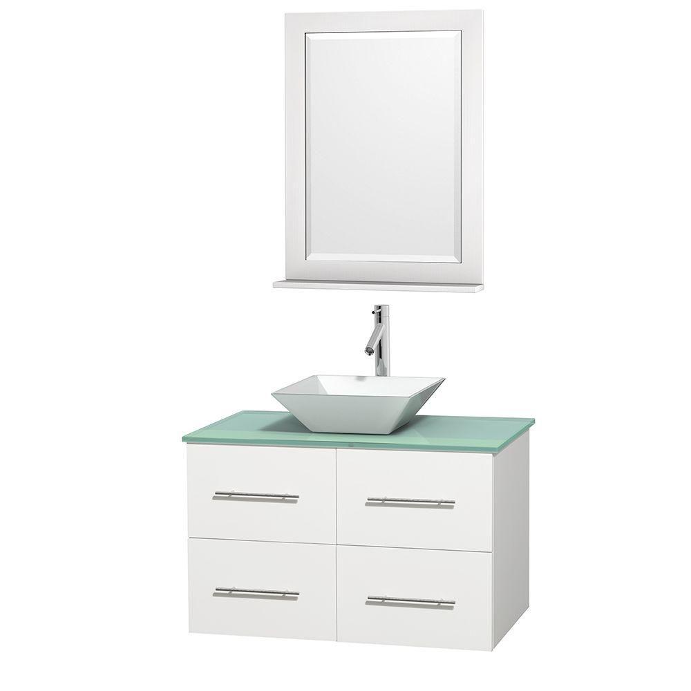 Meuble unique Centra 36 po. blanc, comptoir verre vert, lavabo porcelaine blanche, miroir 24 po.