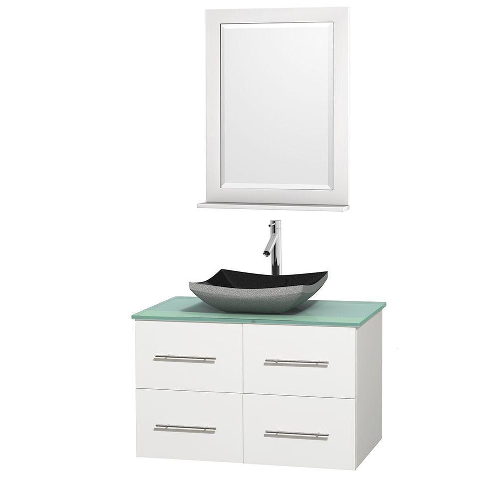 Meuble simple Centra 36 po. blanc, comptoir verre vert, lavabo granit noir, miroir 24 po.