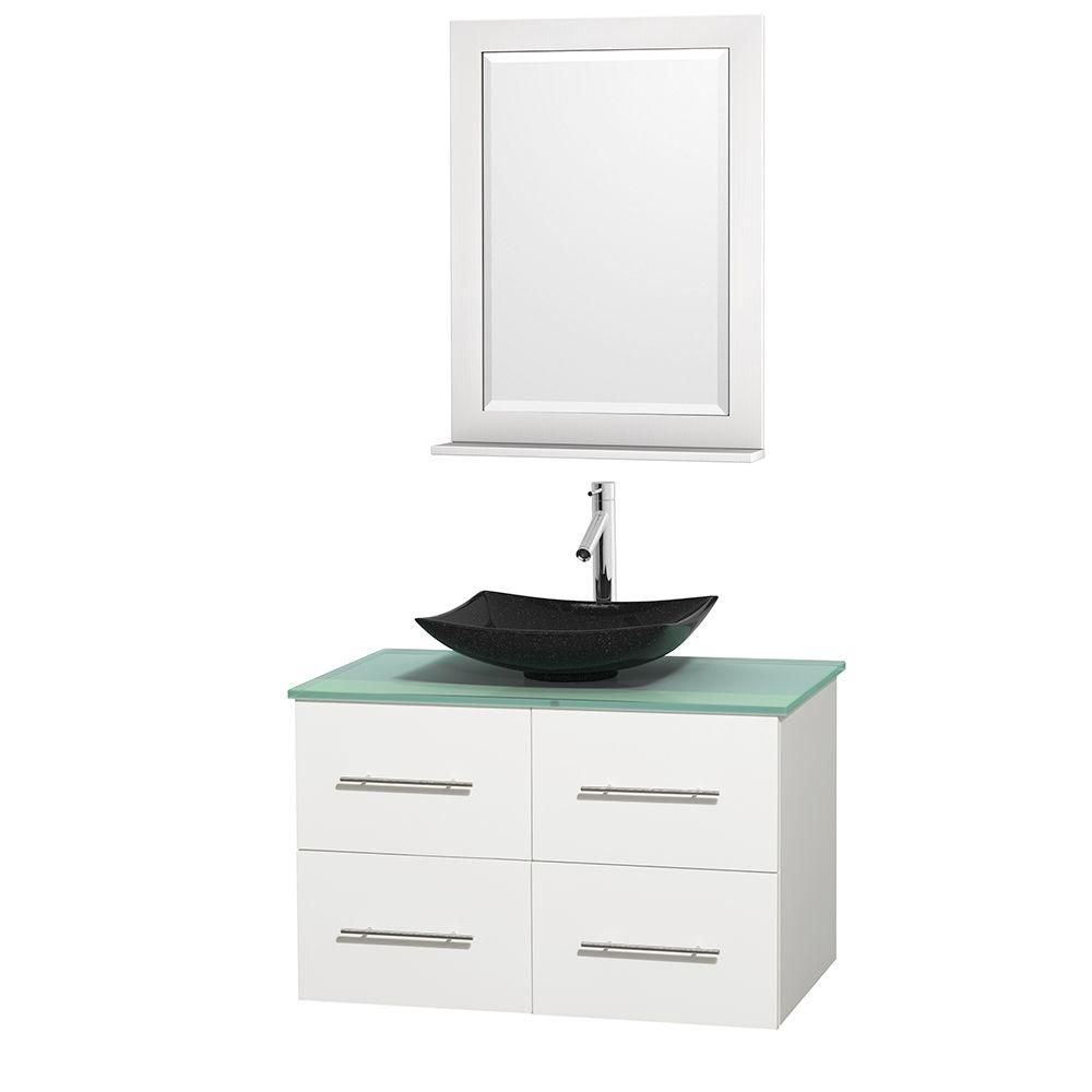 Centra 36-inch W Vanity in White with Glass Top with Black Basin and Mirror