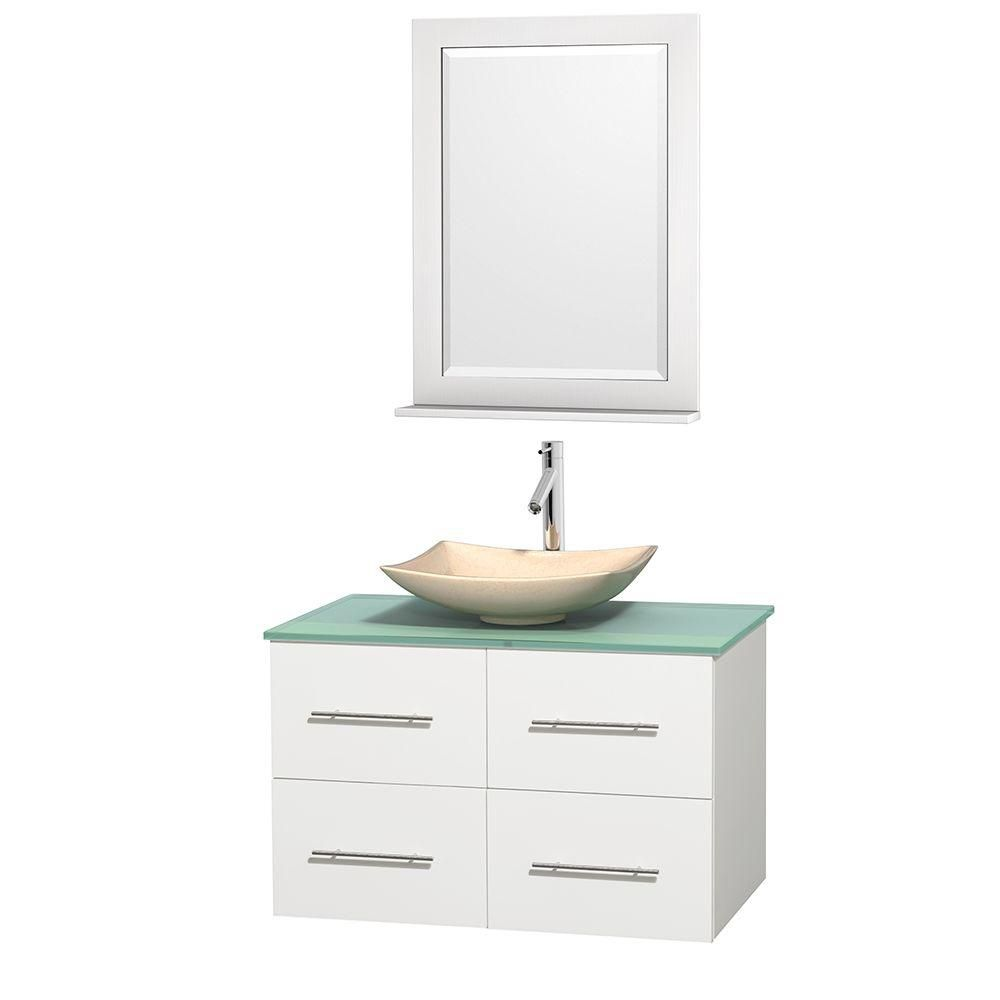 Centra 36-inch W Vanity in White with Glass Top with Ivory Basin and Mirror