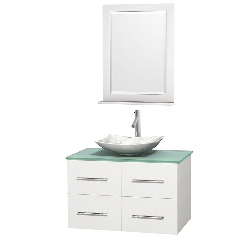 Meuble simple Centra 36 po. blanc, comptoir verre vert, lavabo blanc Carrare, miroir 24 po.