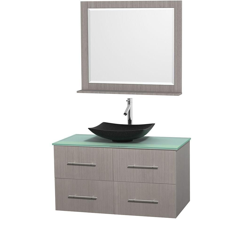 Centra 42-inch W Vanity in Grey Oak with Glass Top with Black Basin and Mirror