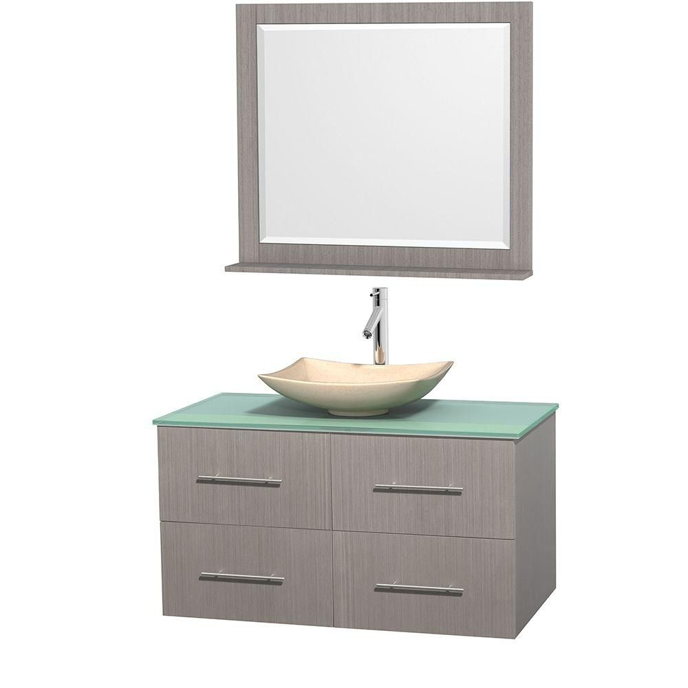 Centra 42-inch W Vanity in Grey Oak with Glass Top with Ivory Basin and Mirror