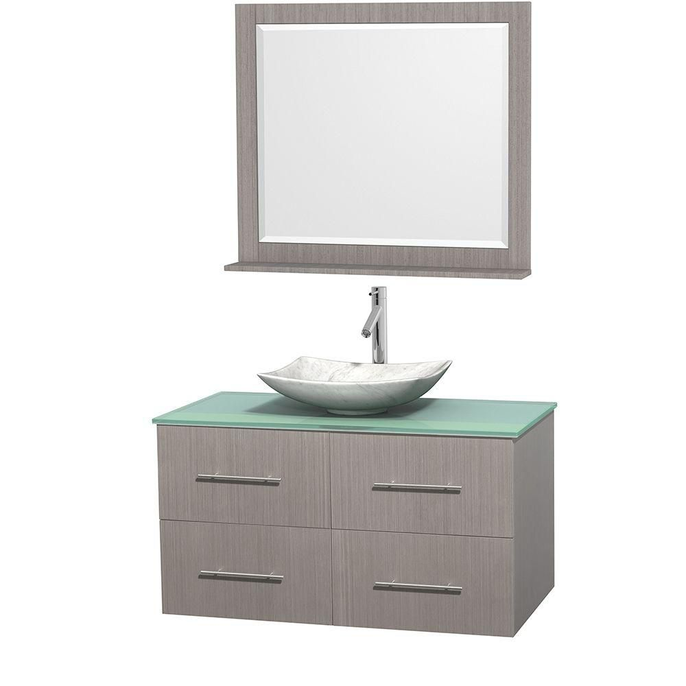Meuble simple Centra 42 po. chêne gris, comptoir verre vert, lavabo blanc Carrare, miroir 36 po.