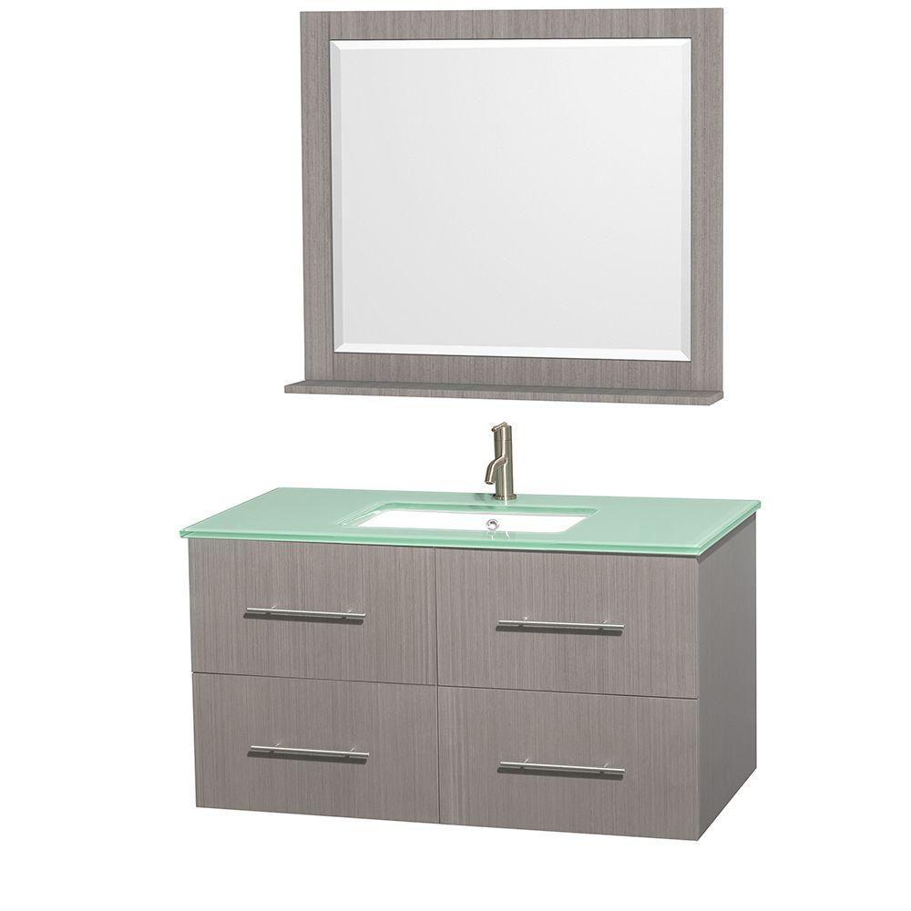 Meuble unique Centra 42 po. chêne gris, comptoir verre vert, lavabo carré, miroir 36 po.