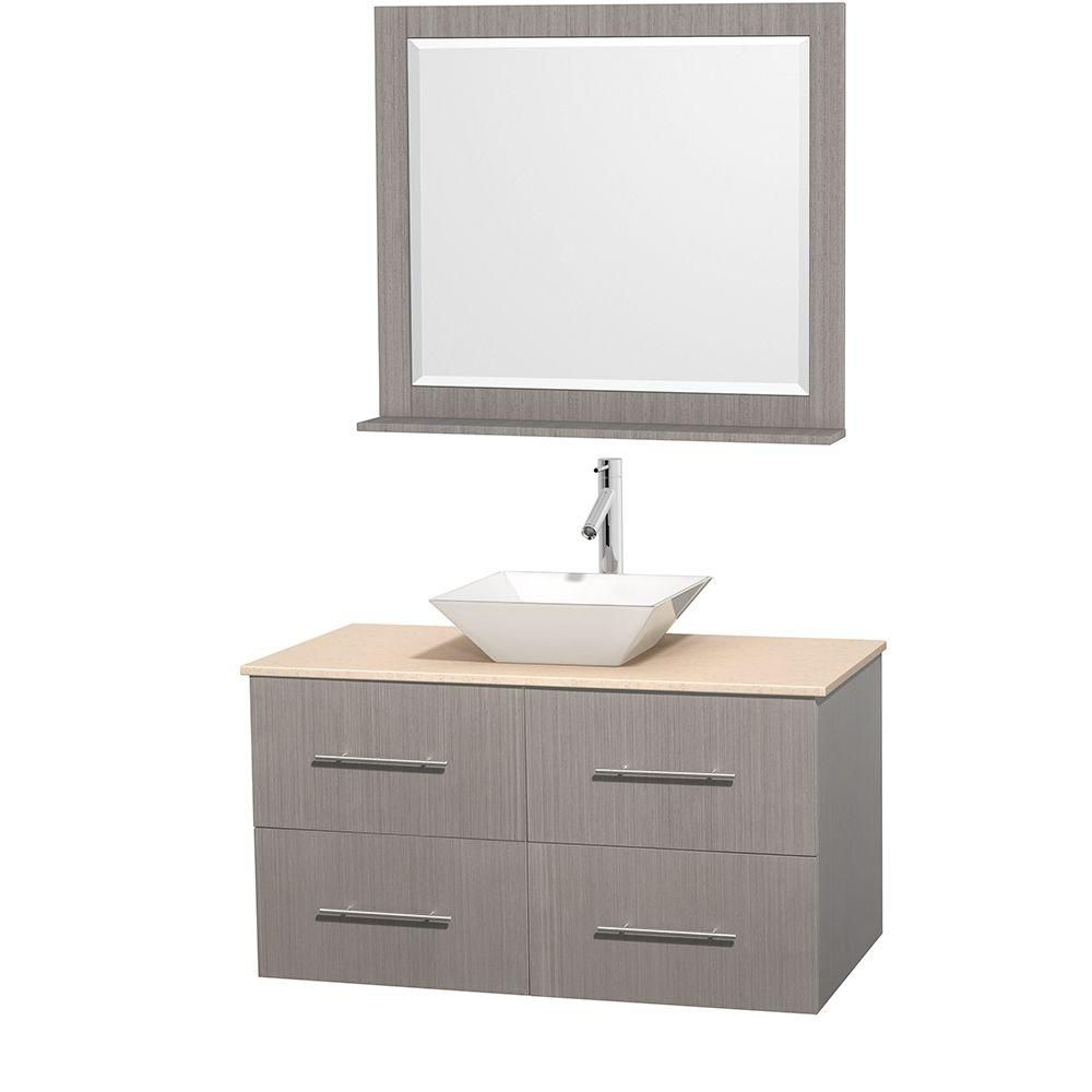 Centra 42-inch W Vanity in Grey Oak with Marble Top in Ivory with White Basin and Mirror