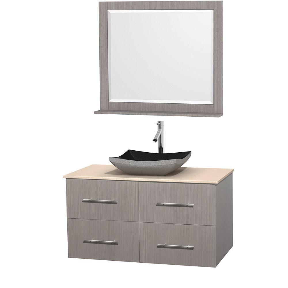 Meuble simple Centra 42 po. chêne gris, comptoir marbre ivoire, lavabo granit noir, miroir 36 po.