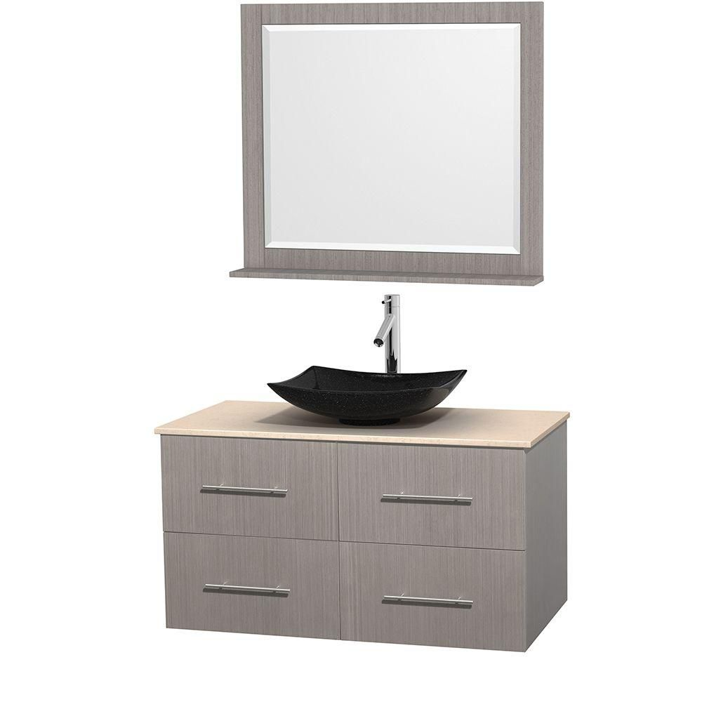 Centra 42-inch W Vanity in Grey Oak with Marble Top in Ivory with Black Basin and Mirror