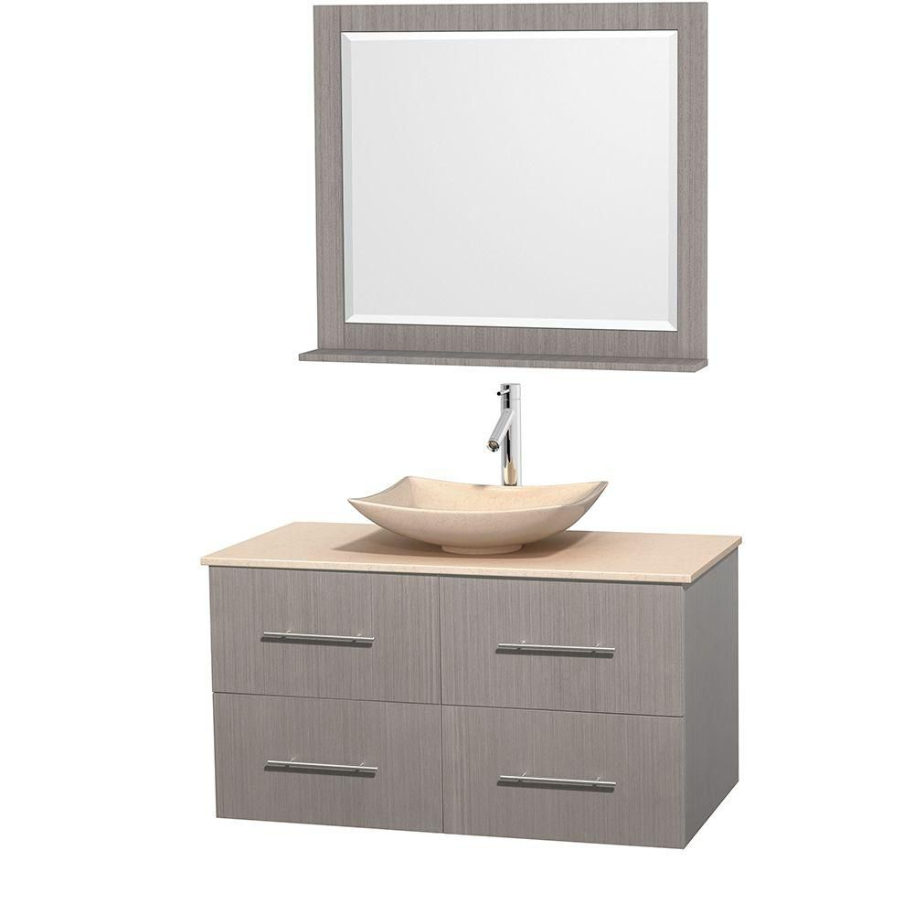 Centra 42-inch W Vanity in Grey Oak with Marble Top in Ivory with Ivory Basin and Mirror