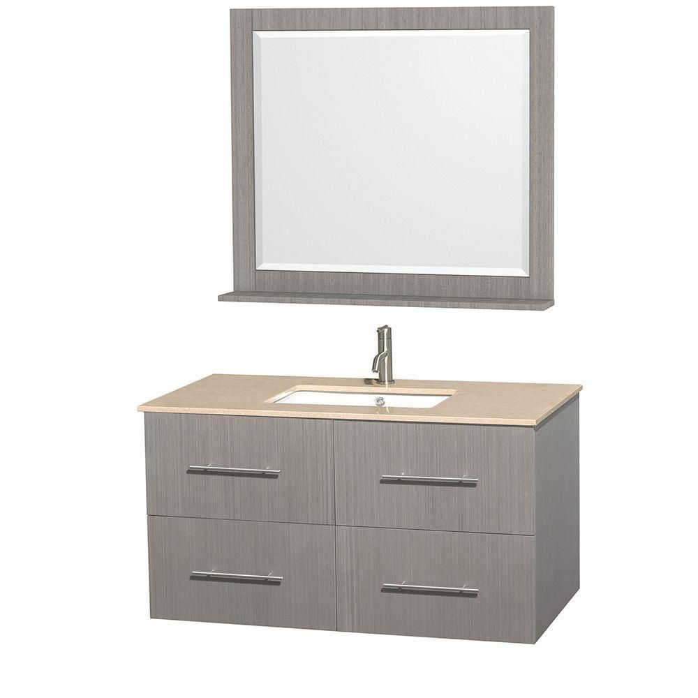 Centra 42-inch W Vanity in Grey Oak with Marble Top in Ivory with Square Basin and Mirror