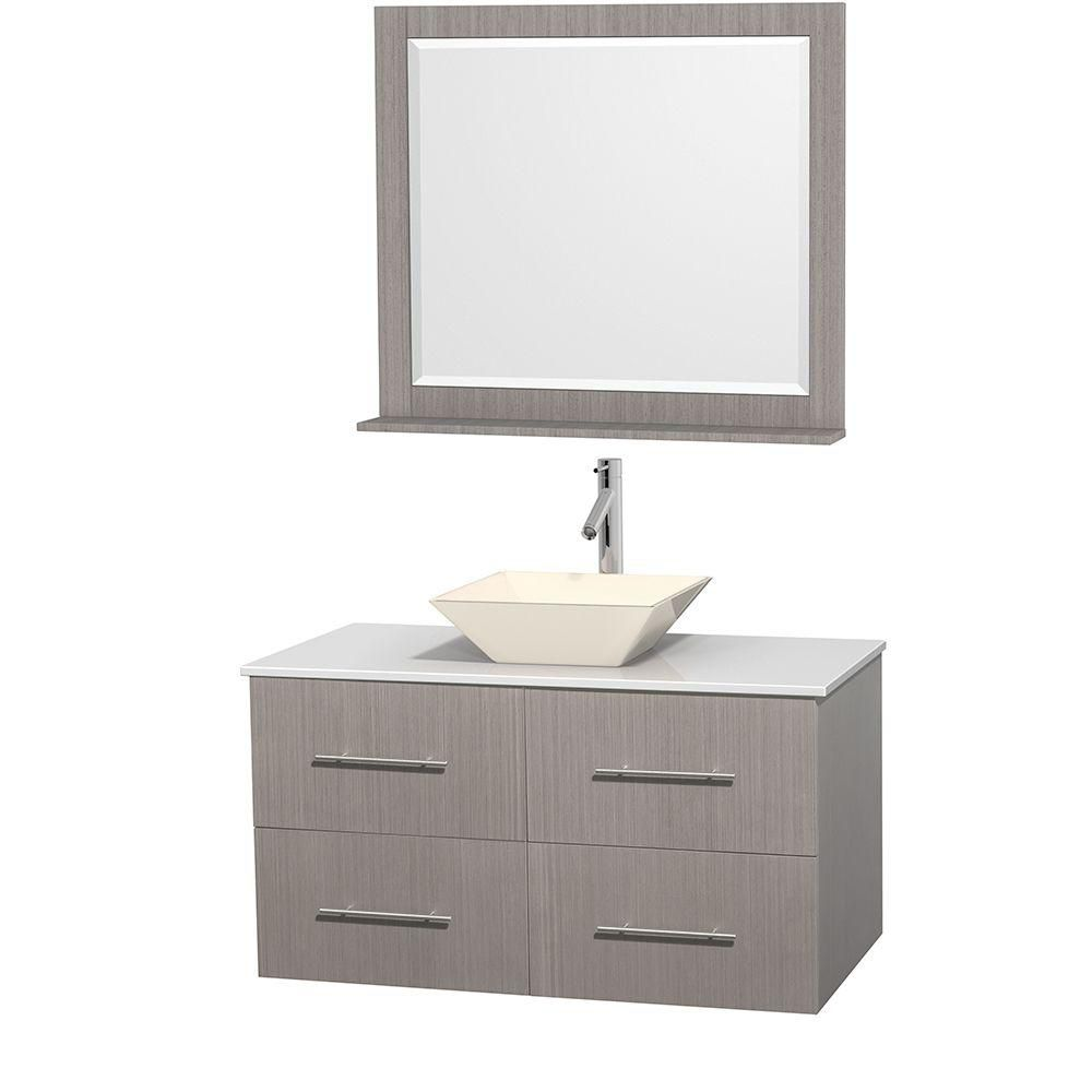Wyndham Collection Centra 42-inch W 2-Drawer 2-Door Wall Mounted Vanity in Grey With Artificial Stone Top in White