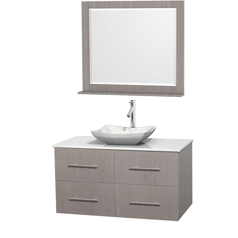 Centra 42-inch W 2-Drawer 2-Door Wall Mounted Vanity in Grey With Artificial Stone Top in White