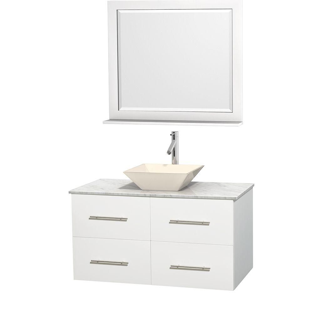 Centra 42-inch W Vanity in White with White Top with Bone Basin and Mirror