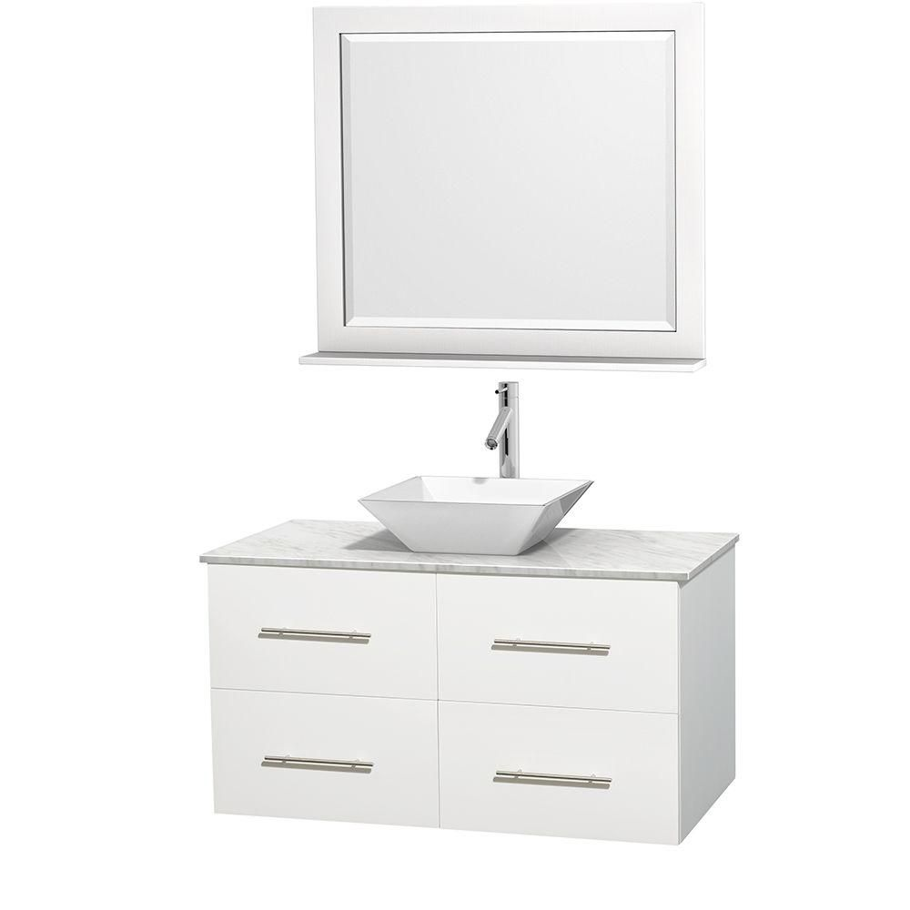 Centra 42-inch W 2-Drawer 2-Door Wall Mounted Vanity in White With Marble Top in White With Mirror
