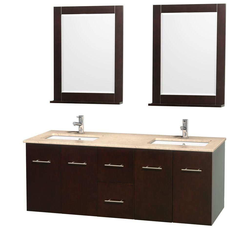 Centra 60-inch W Double Vanity in Espresso with Marble Top in Ivory with Square Basins and Mirror...