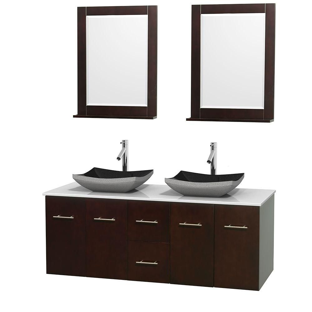 Centra 60-inch W Double Vanity in Espresso with Solid Top with Black Basins and Mirrors