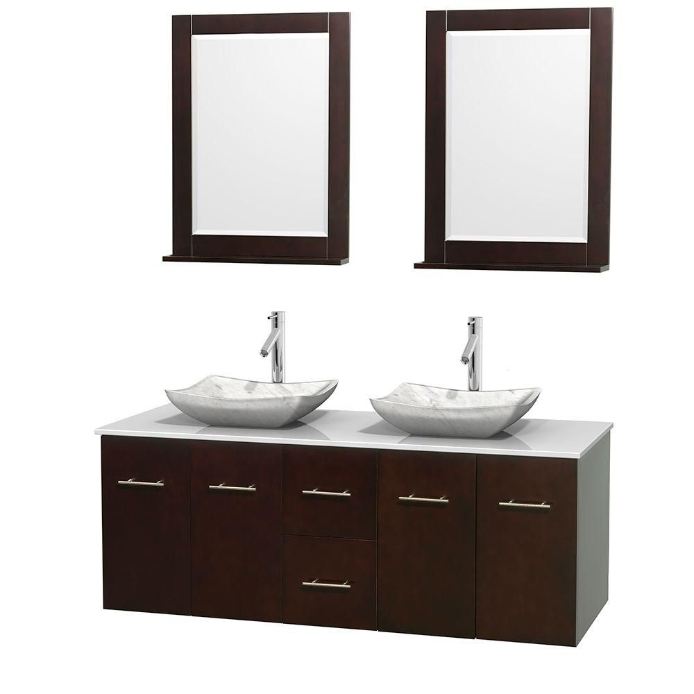 Centra 60-inch W Double Vanity in Espresso with Solid Top with White Basins and Mirrors