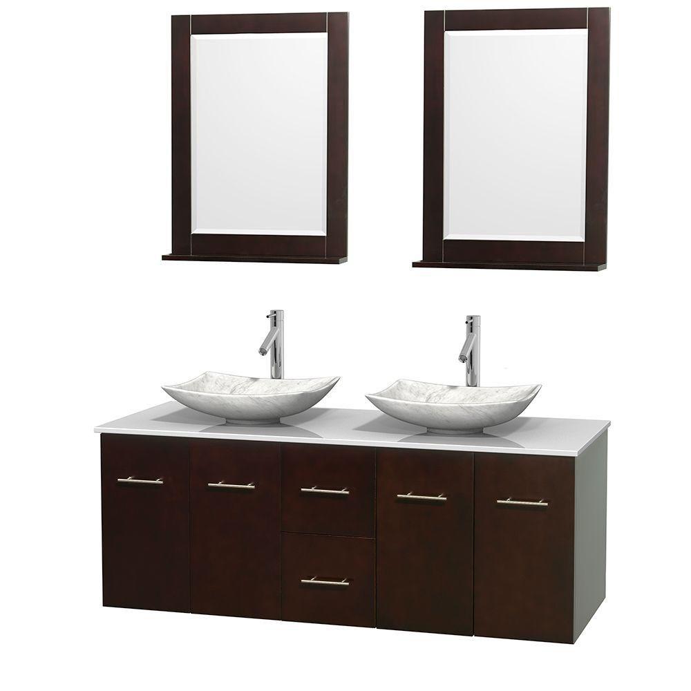 Meuble double Centra 60 po. espresso, comptoir solide, lavabos blanc Carrare, miroirs 24 po.