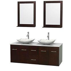 Wyndham Collection Meuble double Centra 60 po. espresso, comptoir solide, lavabos blanc Carrare, miroirs 24 po.