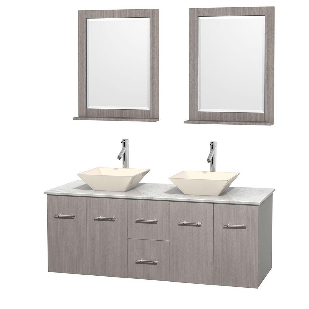 Centra 60-inch W Double Vanity in Grey Oak with White Top with Bone Basins and Mirrors