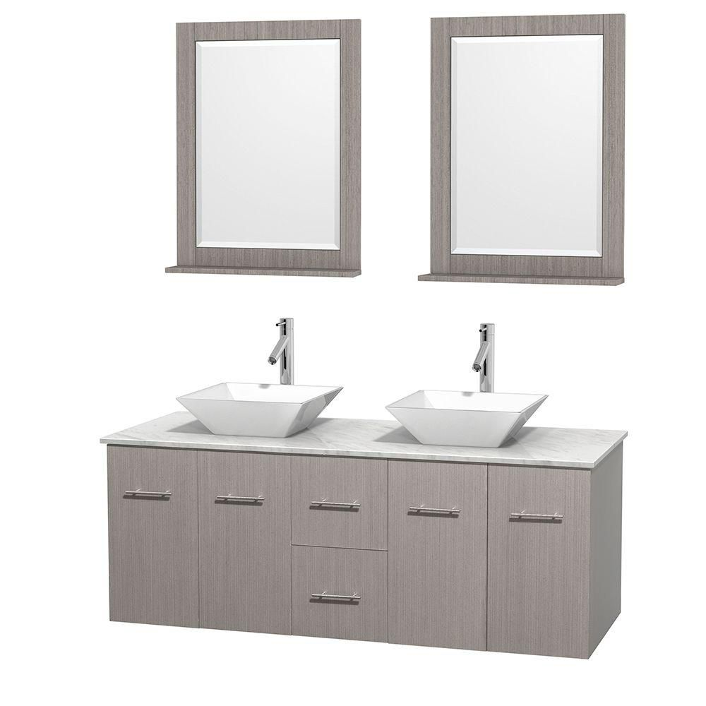 Centra 60-inch W Double Vanity in Grey Oak with White Top with White Basins and Mirrors