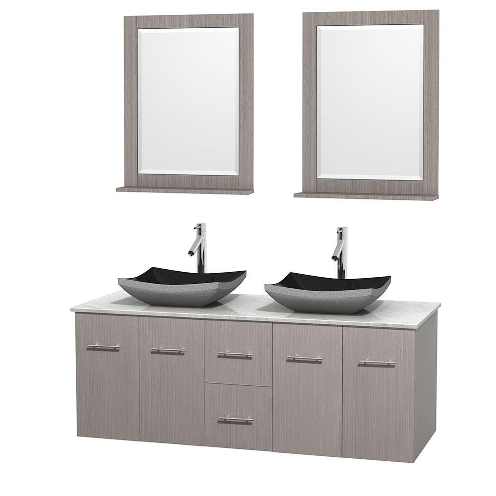 Centra 60-inch W Double Vanity in Grey Oak with White Top with Black Basins and Mirrors