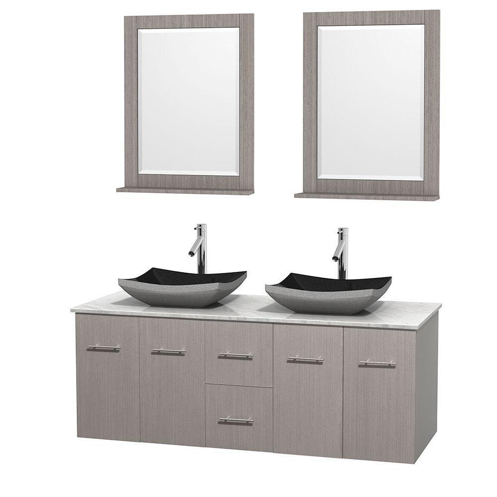 Meuble double Centra 60 po. chêne gris, comptoir blanc Carrare, lavabos granit noir, miroirs 24 p...