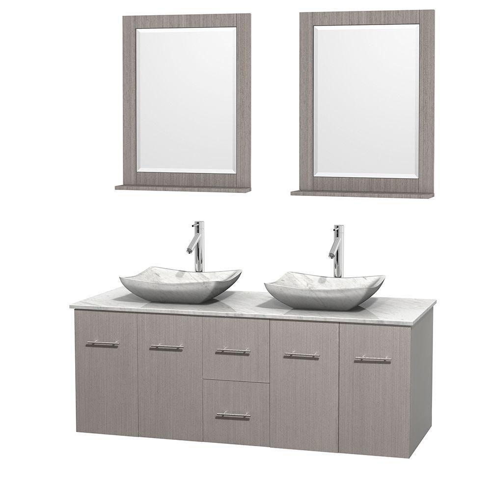 Meuble double Centra 60 po. chêne gris, comptoir blanc Carrare, lavabos blanc Carrare, miroirs 24...