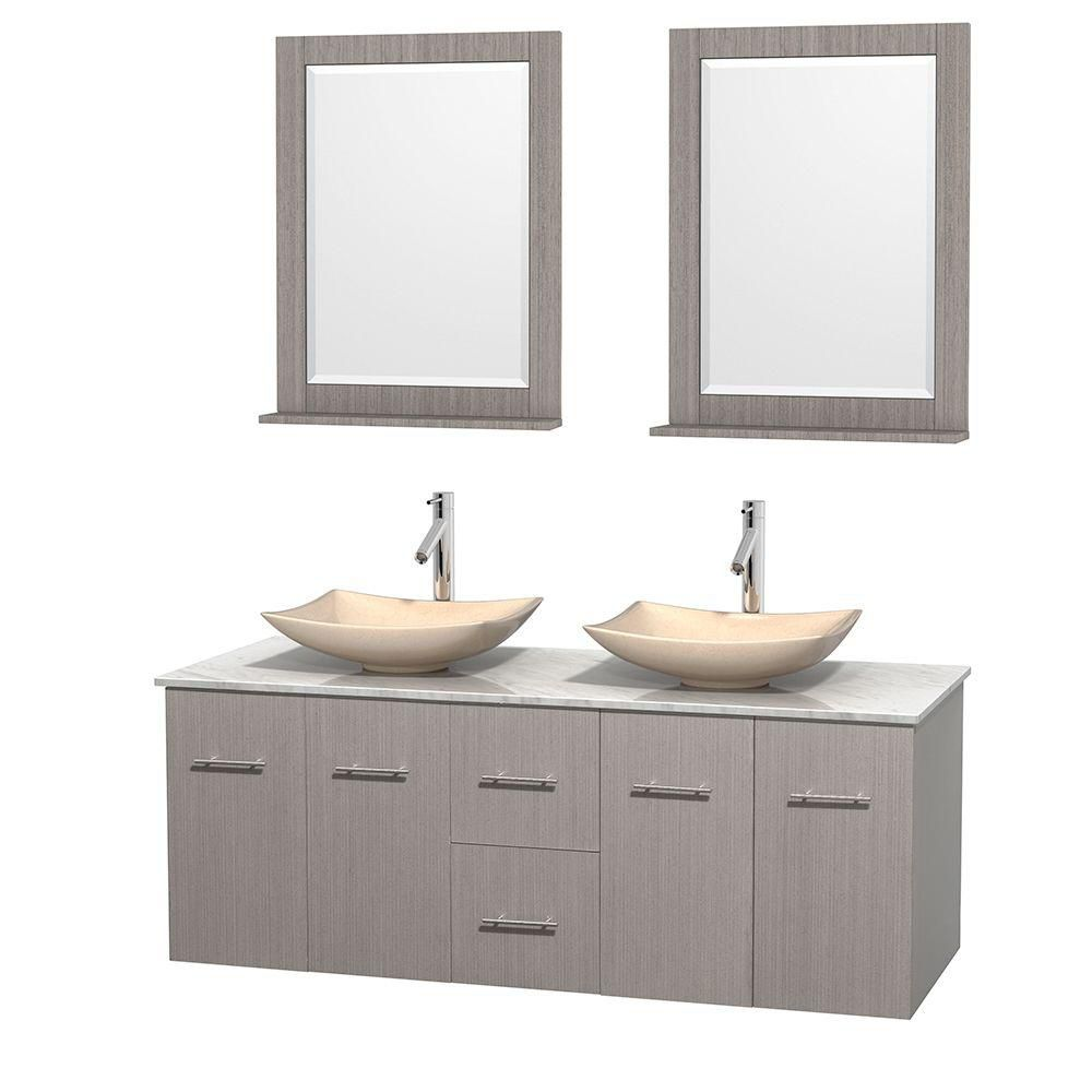 Centra 60-inch W Double Vanity in Grey Oak with White Top with Ivory Basins and Mirrors