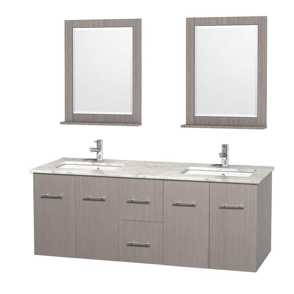 Centra 60-inch W Double Vanity in Grey Oak with White Top with Square Basins and Mirrors