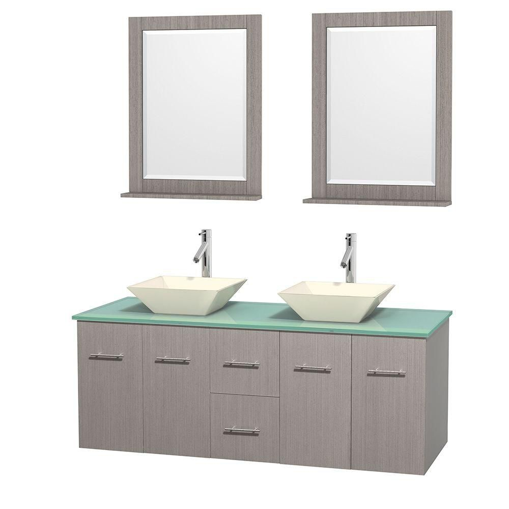 Centra 60-inch W Double Vanity in Grey Oak with Glass Top with Bone Basins and Mirrors