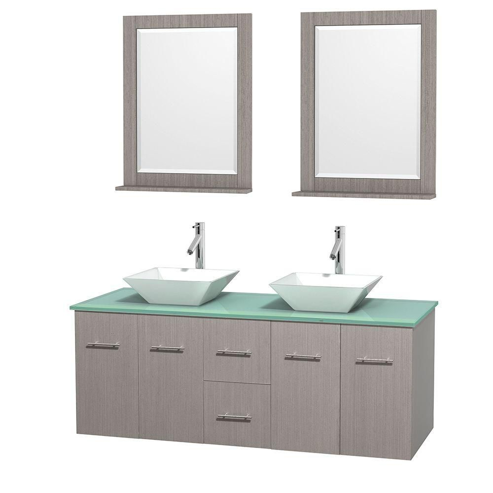 Centra 60-inch W Double Vanity in Grey Oak with Glass Top with White Basins and Mirrors