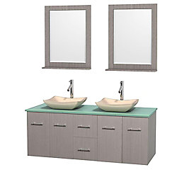 Wyndham Collection Centra 60-inch W 2-Drawer 4-Door Wall Mounted Vanity in Grey With Top in Green, Double Basins