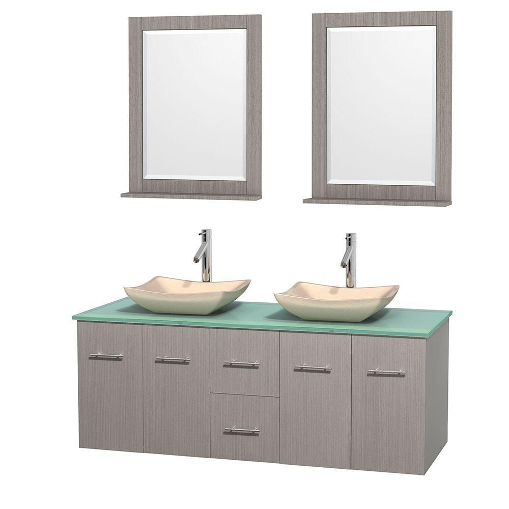 Centra 60-inch W Double Vanity in Grey Oak with Glass Top with Ivory Basins and Mirrors