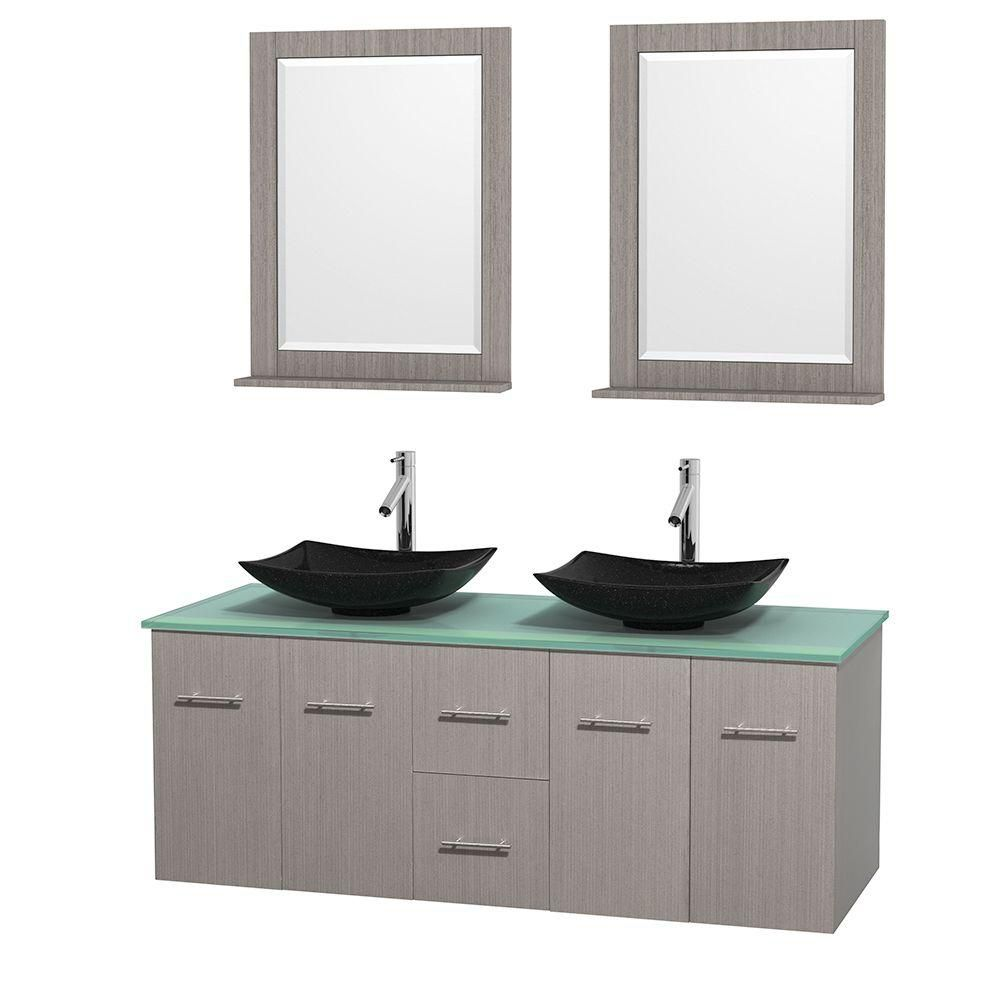 Centra 60-inch W Double Vanity in Grey Oak with Glass Top with Black Basins and Mirrors