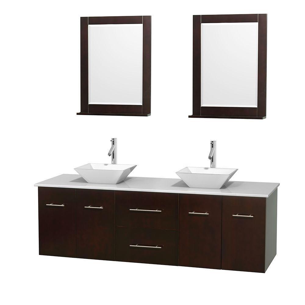 Meuble double Centra 72 po. espresso, comptoir solide, lavabos porcelaine blanche, miroirs 24 po.