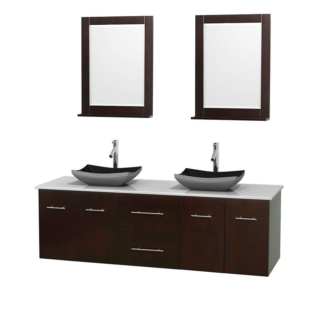 Centra 72-inch W Double Vanity in Espresso with Solid Top with Black Basins and Mirrors